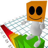 3d little cute people standing on chart Royalty Free Stock Images