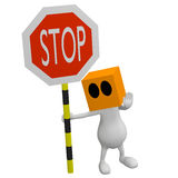 3d little cute people with stop traffic sign Stock Photo