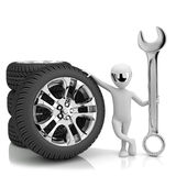 3d little human- car mechanic. 3d image. On a white background Royalty Free Stock Photo