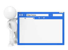 3D Little Human Character and a Browser Window. 3D Little Human Character holding a Browser Window Stock Photo