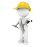3D Little Human Character The Builder. Character ready for Construction. Holding a hammer and nails Royalty Free Stock Photography
