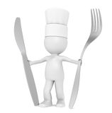 3D Little Human Character The Chef Stock Photography