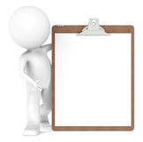 3D Little Human Character and a Clipboard Stock Images