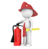 3D Little Human Character The Fire Fighter. Character ready for a fFire. Holding an axe and and a fire-extinguisher Stock Images