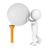 3D little human character and a Golf Ball and Tee Stock Images