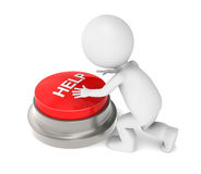 3D Little Human Character with Help Button. Characterabout to push a Help Botton Stock Photo