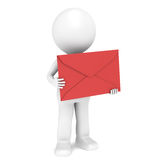 3D Little Human Character holding a Red Envelope. Isolated royalty free illustration
