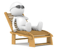 3D little human character relaxing. Royalty Free Stock Photography