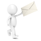 3D Little Human Character Running with an Envelope Royalty Free Stock Photos