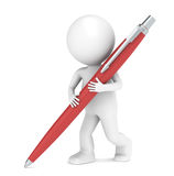3D little human character writing with a Pen. Red Royalty Free Stock Photo