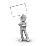 3d little person. With blank board that you can write anything Royalty Free Stock Photos