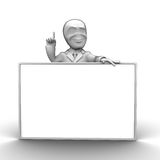 3d little person. With blank board that you can write anything Royalty Free Stock Photo