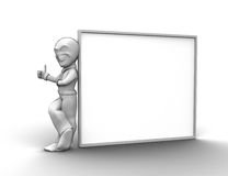 3d little person. With blank board that you can write anything Stock Photography
