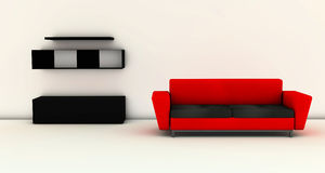 3D Living room with red sofa Royalty Free Stock Images