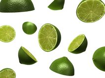 3d lmes. 3d rendered illustration of some falling limes Stock Photo