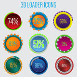 3d loader icon set of 9. With percentage Royalty Free Stock Photography