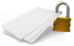 3d lock on blank documents Stock Image