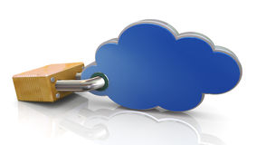 3d lock and cloud computing Royalty Free Stock Photos