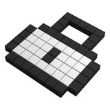 3d lock pixel icon. Black and white illustration Stock Images