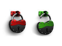 3d lock (red end green) Royalty Free Stock Image