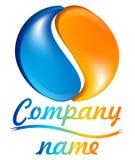 3d logo błękitny pomarańcze ilustracji