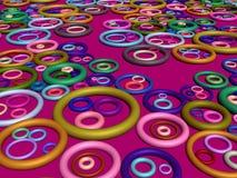3D-Lots degli anelli su cremisi Fotografie Stock Libere da Diritti