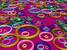 3D-Lots des boucles sur le cramoisi Photos libres de droits