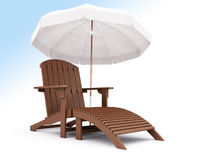 3d lounge. 3d wooden lounges whith umbrella on a sky background Stock Photography