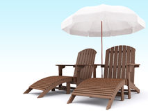 3d lounges. Two 3d wooden lounges whith umbrella Royalty Free Stock Photos