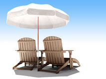 3d lounges. Two 3d wooden lounges whith umbrella Royalty Free Stock Images