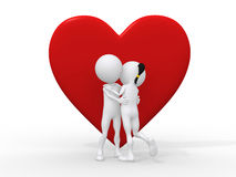3d love couple embracing against a big red heart. Beautiful 3d love couple embracing against a big red heart on white background Stock Photos