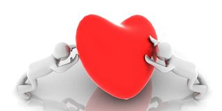 3D love holding red - heart - in 3-d visualization Stock Photos