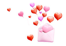 3D love mail. 3D Concept of love mail on background. Isolated Stock Photos