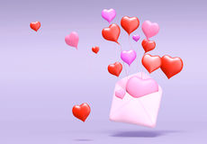 3D love mail Royalty Free Stock Photos
