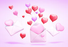 3D love mail. 3D Concept of love mail on background Royalty Free Stock Image