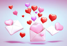 3D love mail. 3D Concept of love mail on background Royalty Free Stock Photography