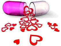 3d love pill with red hearts for Valentine's Day Stock Images