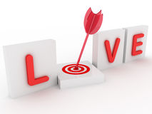 3d love with target Royalty Free Stock Image