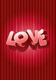 3D Love text. Vector 3d love text on red background stock illustration