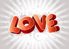 3D Love text composition Royalty Free Stock Photo