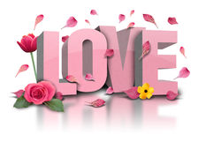 3D Love text with Flowers on White. The test love is in 3d letters with flower on a white, isolated background. Rose petals are falling and there is a tulip