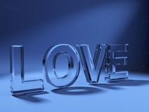 3d love text made of glass Royalty Free Stock Photography