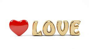 3D love text and red heart Stock Image