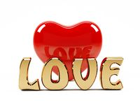 3D love text and red heart Stock Images