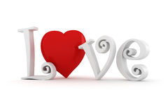 3d Love text, Valentines Day concept Stock Photos