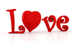 3d Love text, Valentines Day concept Royalty Free Stock Photo