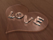 3d love water typography on heart Stock Photography