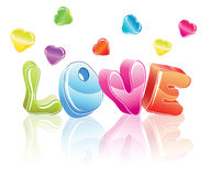3d love word. With hearts Stock Images