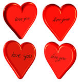 3D love you hearts Stock Photos