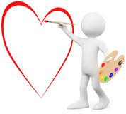 3D Lover Painting A Heart On A Wall Royalty Free Stock Photo
